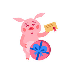merry christmas pig with gift boxes vector image