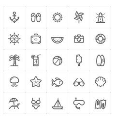Mini icon set - beach icon vector