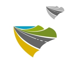 Mountain road icon with lake on horizon vector