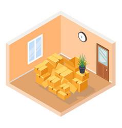 moving isometric hall room cardboard box pile vector image