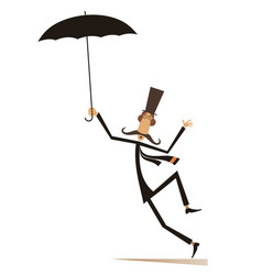 mustache man in the top hat with umbrella isolated vector image