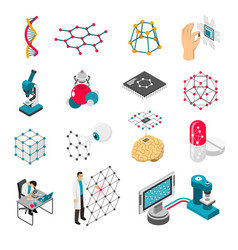 Nano technology isometric icons set vector