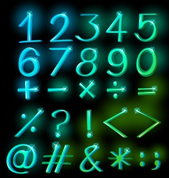 Numbers in sparkling neon colors vector