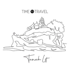 one continuous line drawing tanah lot landmark vector image