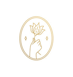 Outline icon hand with flower in oval frame vector