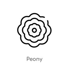 outline peony icon isolated black simple line vector image