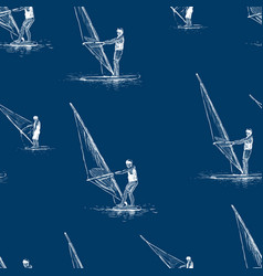 pattern windsurfers sketches vector image