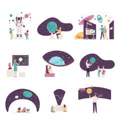 People characters visiting planetarium vector