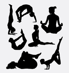 Pilates female sport silhouette vector image