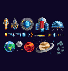 Pixel design of spacecrafts and planets vector