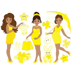 Pregnant Women Set vector