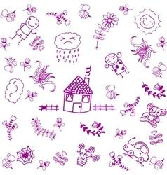 Purple house and garden doodle art vector