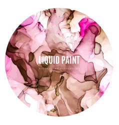 Round poster wet ink background pink and peachy vector