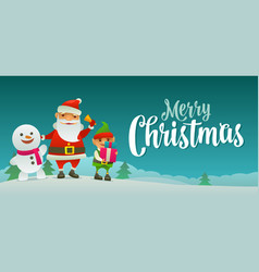 Santa claus snowman and elf with gift flat vector