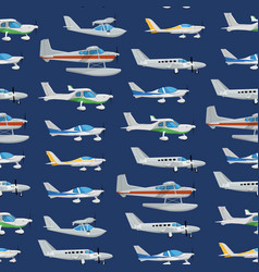 seamless pattern with propeller airplanes vector image