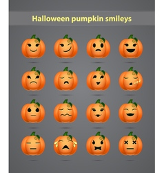 set emoticons in the form of small pumpkins vector image
