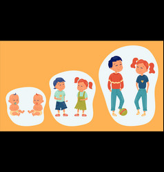 Set kids in different ages smiling children in vector
