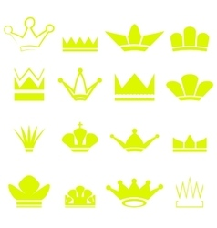 Set of Gold Crowns Silhouettes vector image