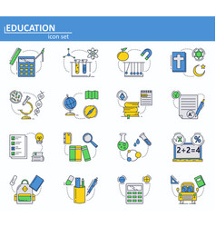 set school education icons in thin line vector image
