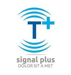 Signal letter t plus blue alphabet wireless vector