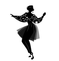 silhouette of woman dancing new wave music vector image