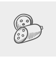 Sliced sausage sketch icon vector