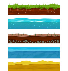 soil layers game ground surfaces with land vector image
