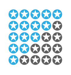 star raiting icons giving five stars raiting flat vector image