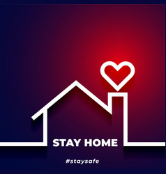 Stay safe and stay home background with house and vector