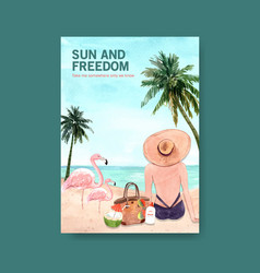 Summer poster template design for holiday vector
