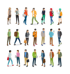 Teenagers students flat collection on white vector