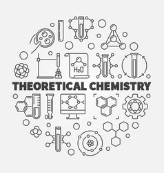 Theoretical chemistry concept round line vector