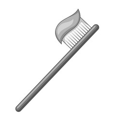 toothbrush with toothpaste icon monochrome vector image
