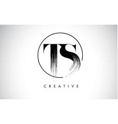 Ts brush stroke letter logo design black paint vector