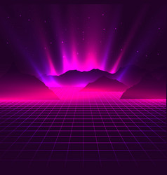 Vaporwave aesthetic neon glowing laser grid with vector
