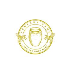 vintage retro honey bee farm product label logo vector image