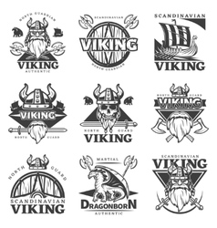 Vintage Viking Label Set vector