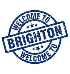 Welcome to brighton blue stamp vector