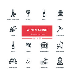 winemaking - flat design style icons set vector image