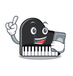 with phone piano character cartoon style vector image