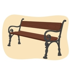 Wooden park bench on brown background vector
