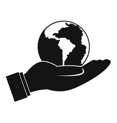 world planet in man hand icon simple style vector image