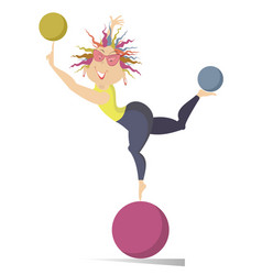 Young woman do exercises with the balls isolated vector