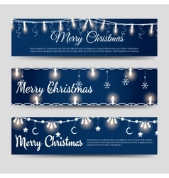 Christmas banners with shining garlands vector image
