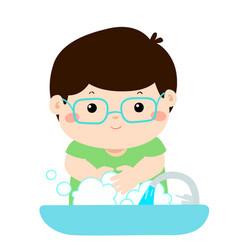 cute boy washing hands vector image vector image