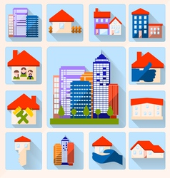 0415 14 house color icon set v vector image