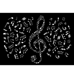 Black and white treble clef with musical notes vector image