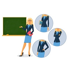 Female teacher with blackboard vector image vector image