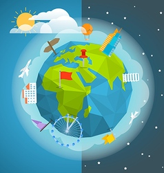 The Earth with different pins and buildings vector image vector image