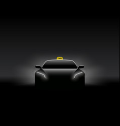 front view dark taxi car silhouette vector image